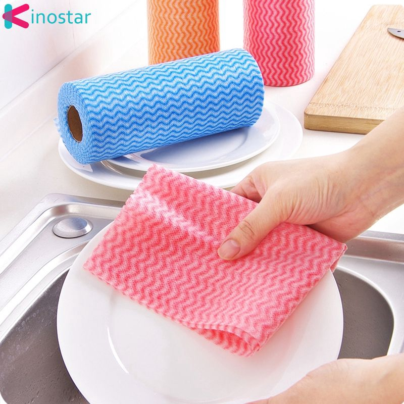 ♕kin 25 Pcs/Roll Eco-Friendly Non Woven Duster Cloth Dish Cloth Break Point No Oil Rag Furniture Kitchenware Cleaning Prouct