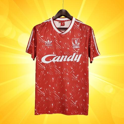 เสื้อลิเวอร์พูล ย้อนยุค ใบไผ่ สีแดง Candy ทีมเหย้า 1989