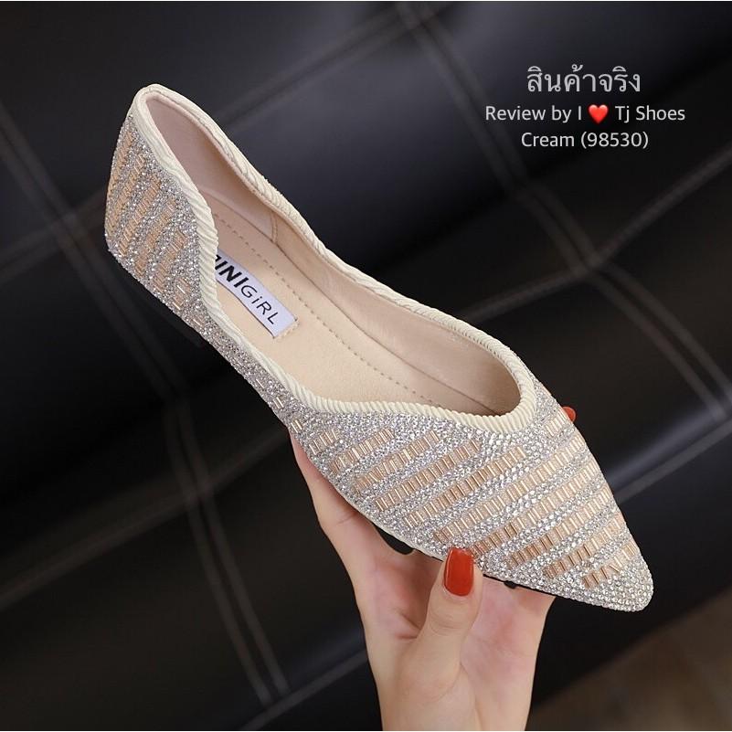 รองเท้าคัชชูเพื่อสุขภาพ คัชชูเตี้ยหัวแหลมเพชร