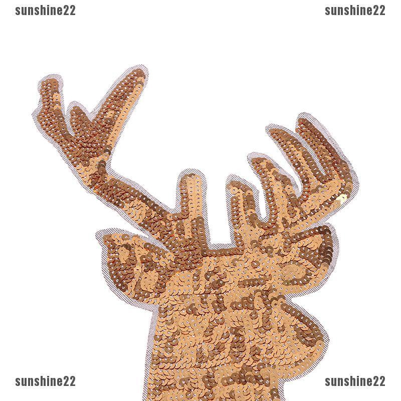 Christmas Decorations Elk Gold Deer Sequin Appliques Embroidery iron on patches