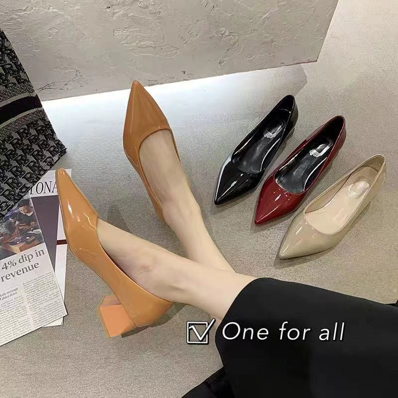 ■✈✴⚡️ พร้อมส่ง⚡️TX202 รองเท้าคัชชูส้นสูง  หนังแก้ว หัวแหลม สูง2นิ้ว (4สี)