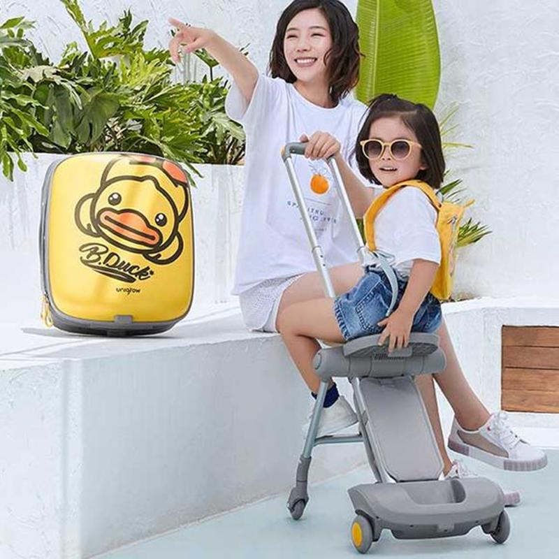 ♧☃ กระเป๋าเดินทางล้อลาก กระเป๋าเดินทางล้อลากใบเล็กรณีรถเข็นเด็กขี้เกียจกระเป๋าเป็ดสีเหลืองขนาดเล็กสามารถขึ้นรถเข็นกระเป๋