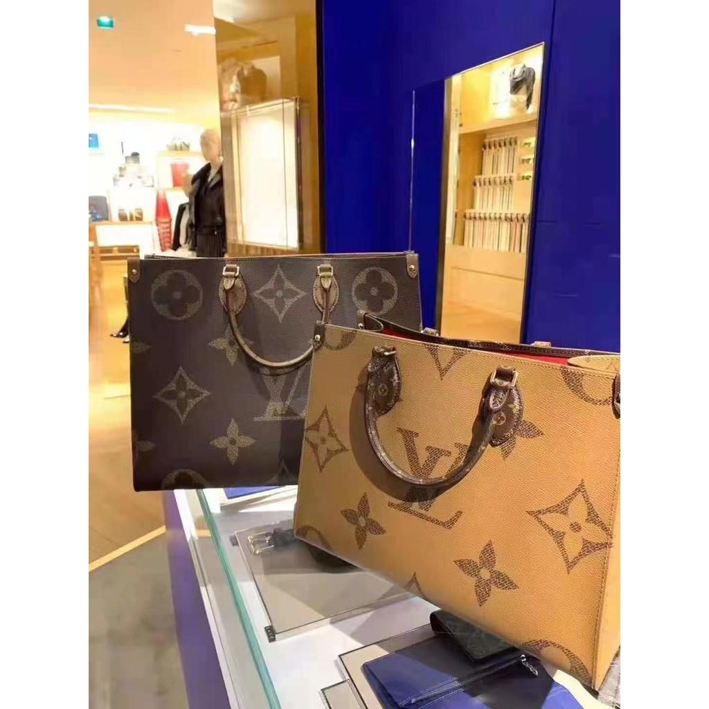 ω♋ กระเป๋าเป้สะพายหลัง★★★❤🔥🔥กระเป๋ากระเป๋าเดินทาง ของแท้/LV Louis Vuitton กระเป๋าถือดอกไม้เก่า onthego กระเป๋าถุงช้อปป