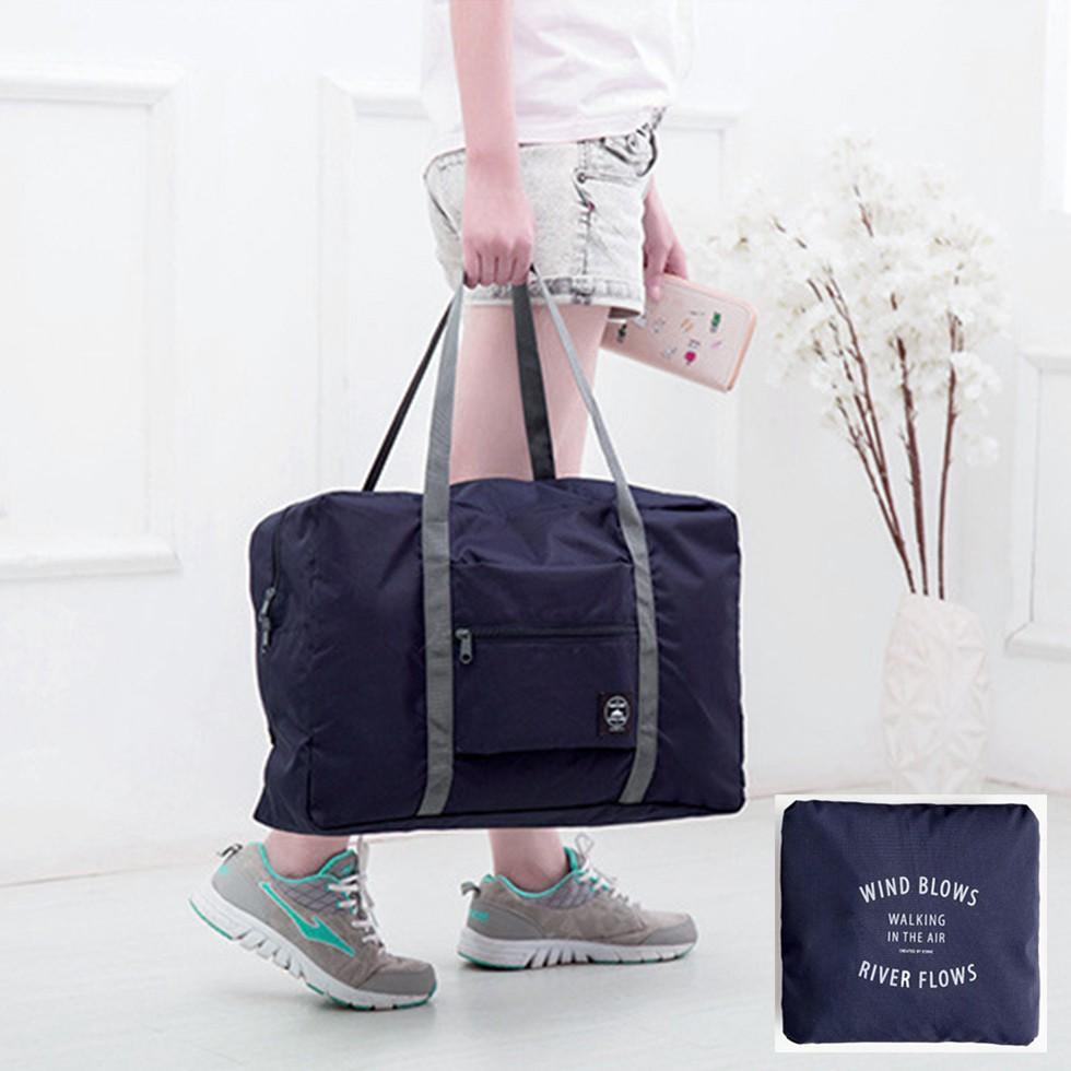 กระเป๋าเดินทางแบบพับเก็บได้ พิเศษ! ติดกับกระเป๋าเดินทางล้อลากได้ สีกรมท่า