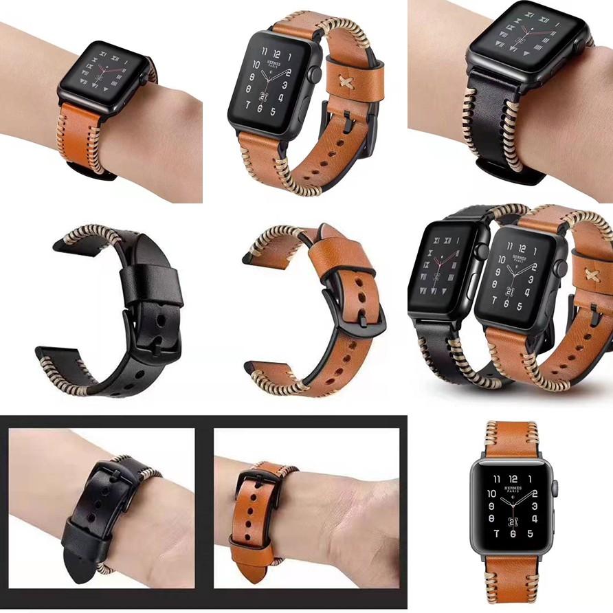 The New  apple watch strap สายหนังวัว iwatch series SE 6 5 4 3 2 1 Cowhide watch strap 38 40 42 44mm