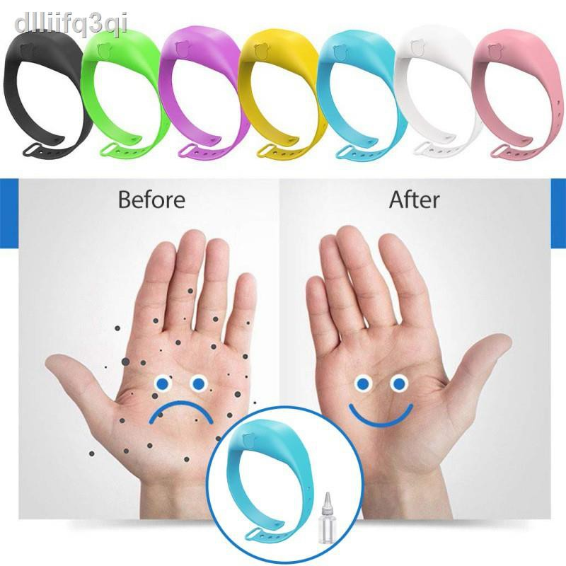 ☊◊✗♟สายรัดข้อมือใส่เจลล้างมือ เจลล้างมือพกพาเด็ก ขวดใส่เจลล้างมือพกพา น้ำยาล้างมือ Wristband Hand Sanitizer Dispenser