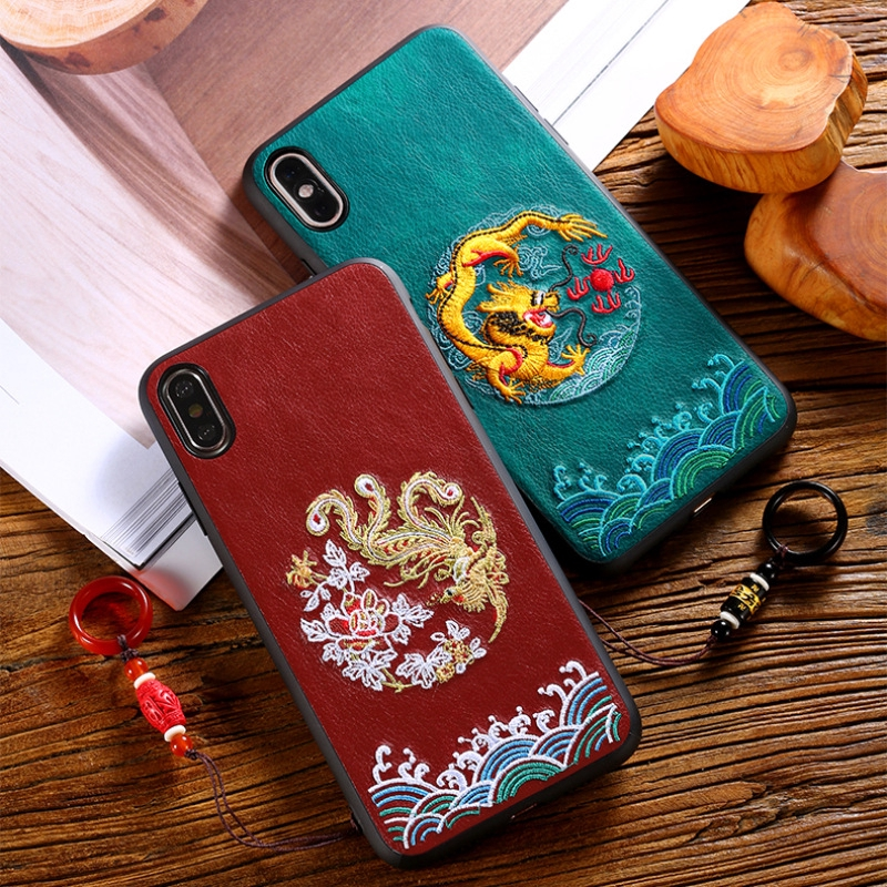 เคสโทรศัพท์หนังพิมพ์ลายมังกรจีนสําหรับ Apple 12 Mini Iphone 11Pro