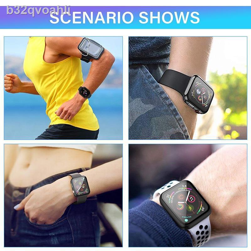 ⊙สายนาฬิกาอัจฉริยะ♝✈2pcs Case For Apple Watch Series 1/2/3/ 38/42mm And 4/5/6/SE 40/44mm  Thin TPU Frame Case   Tempered