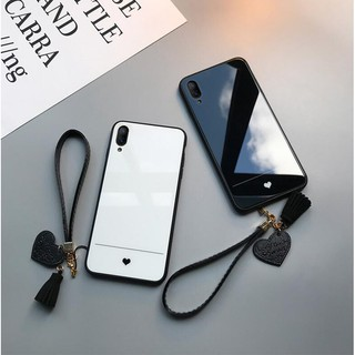 Review Huawei Y7 Pro 2019【Heart Back】Tempered Glass Back Soft Edge Slim Case Cover with Lanyard