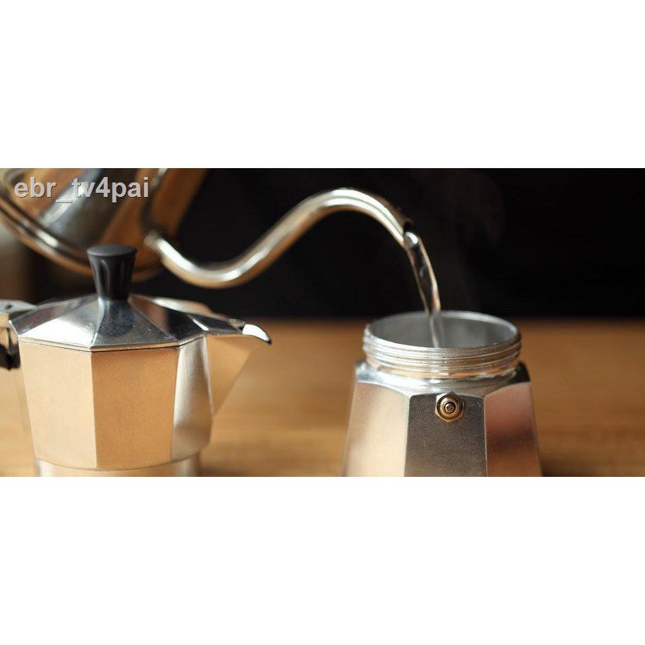 hot◘♙✣LEEVING ICON กาต้มกาแฟสด MOKA POT หม้อต้มกาแฟสด เครื่องชงกาแฟสดแบบพกพาสไตล์อิตาเลียน ทำกาแฟสดทานได้ทุกทีแม้กระทั่