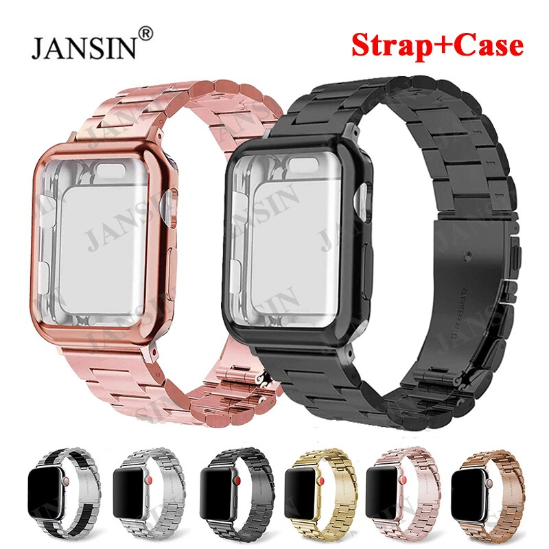 Apple watch case and strap, 42mm and 38mm stainless steel strap for 44mm and 40mm Apple watch, Se series 6, 5, 4, 3, 2