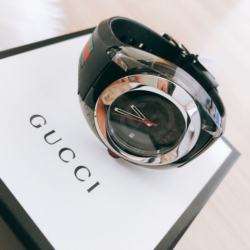 GUCCI SYNC STAINLESS STEEL DIAL RUBBER WATCH