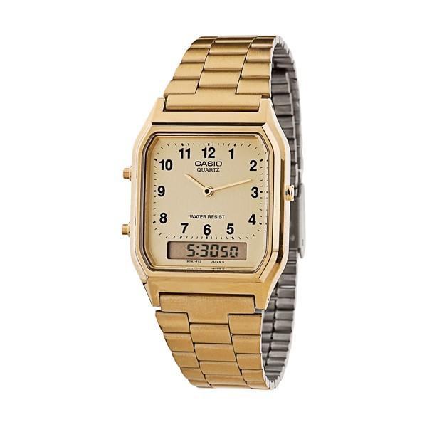 ของแท้100% นาฬิกาข้อมือ CASIO AQ-230GA สายสแตนเลส สีทอง