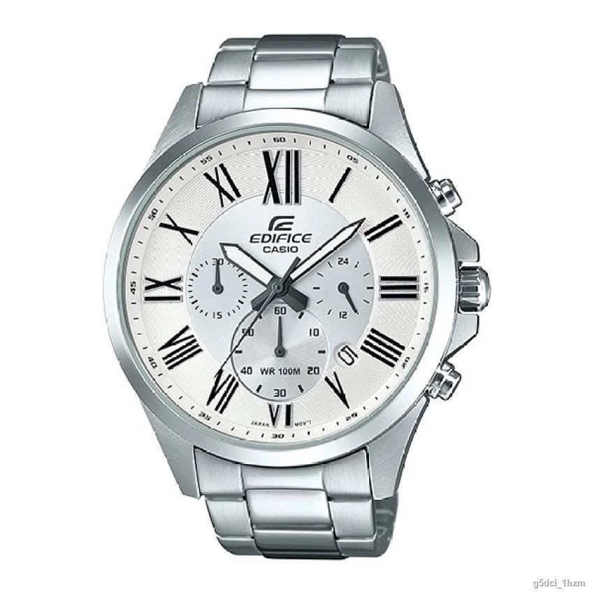 【การประกันคุณภาพ】❐☁✹Casio Edifice นาฬิกาข้อมือผู้ชาย สายสแตนเลส รุ่น EFV-500D-7A