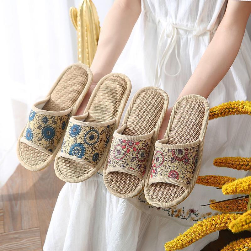 ยางยืดออกกําลังกาย✌🌈รองเท้าสตรี🌈  [รองเท้าแตะผ้าสำหรับใส่ในบ้าน] รองเท้าแตะผ้าลินินที่ได้รับการคัดสรรบ้านหญิงโฟร์ซีซั
