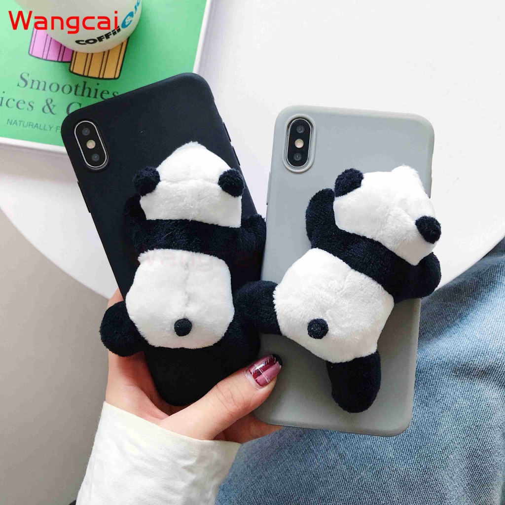 Samsung Galaxy A9 A8 A7 A6 A6+ Plus A5 2018 2017 A9 Pro 2016 A8S Case Panda Hairy Cute Cartoon Plush Toy TPU Case Cover