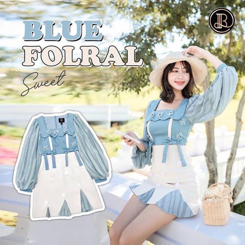 [พร้อมส่ง🐳] BLT BRAND Minidress Blue foral size XS