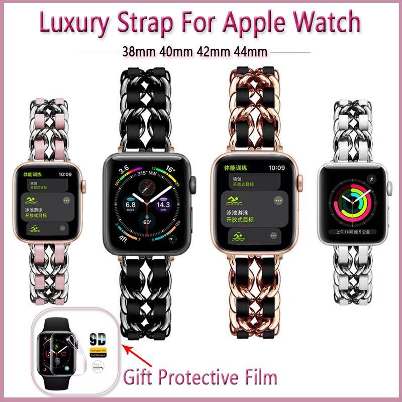 40mm 44mm Stainless steel watchband for apple watch 6 SE 5 4 Luxury strap 38mm 42mm applewatch series 1/2/3