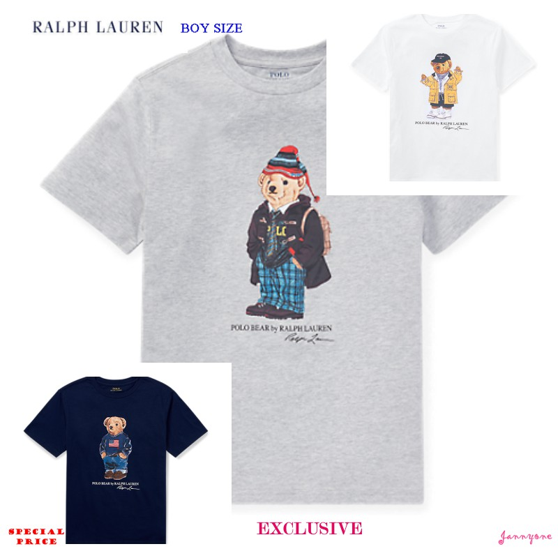 POLO BEAR by Ralph Lauren Boys Kids White T-Shirt Bear in Sweater LIMITED EDITIO