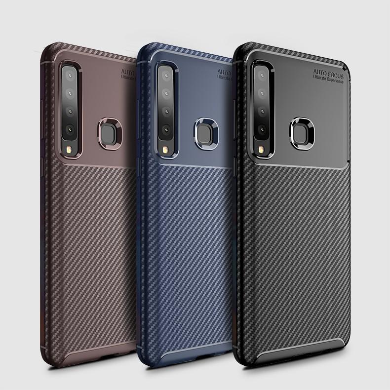 Samsung Galaxy A6s A9 A9S Star Pro A8 A6 Plus Cover เกราะป้องกันต่อต้านการโยนคาร์บอนไฟเบอร์เคสโทรศัพท์ TPU อ่อน Case