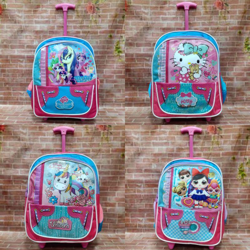 กระเป๋าเดินทางล้อลากลายการ์ตูน Hello Kitty Little Pony ขนาด 14 นิ้วสําหรับเด็กอนุบาล