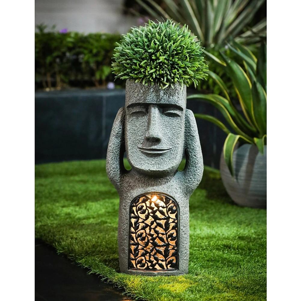 Hot Selling See Hear Speak No Evil Garden Easter Island Statues Creative  Garden Resin Sculpture Outdoor Decoration PI669 ราคาที่ดีที่สุด