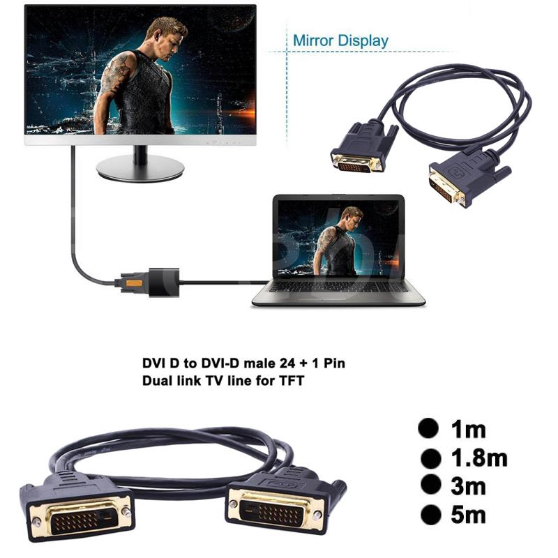 สายเชื่อมต่อทีวีDvi - D To Dvi - D Line Tft หน้าจอมอนิเตอร์ Hdtv 24 + 1 Pin สําหรับใช้ตรวจสอบ