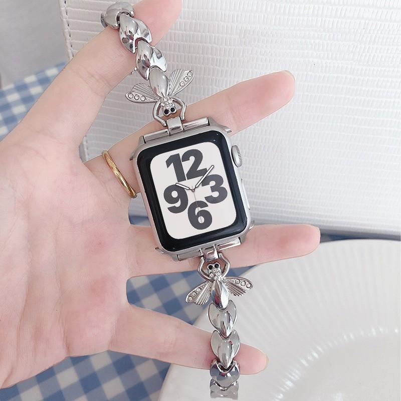 สายนาฬิกา Apple Watch สุดหรูประดับเพชร Bling Applewatch Series 6 5 4 3 2 1, Apple Watch SE สายสแตนเลสสตีล KVzY