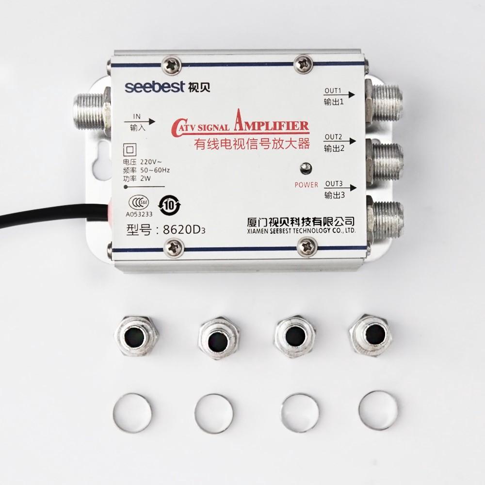 CATV Signal Booster Splitter 1 ชุด 1 in 3 Out CATV TV Antenna Signal  Amplifier