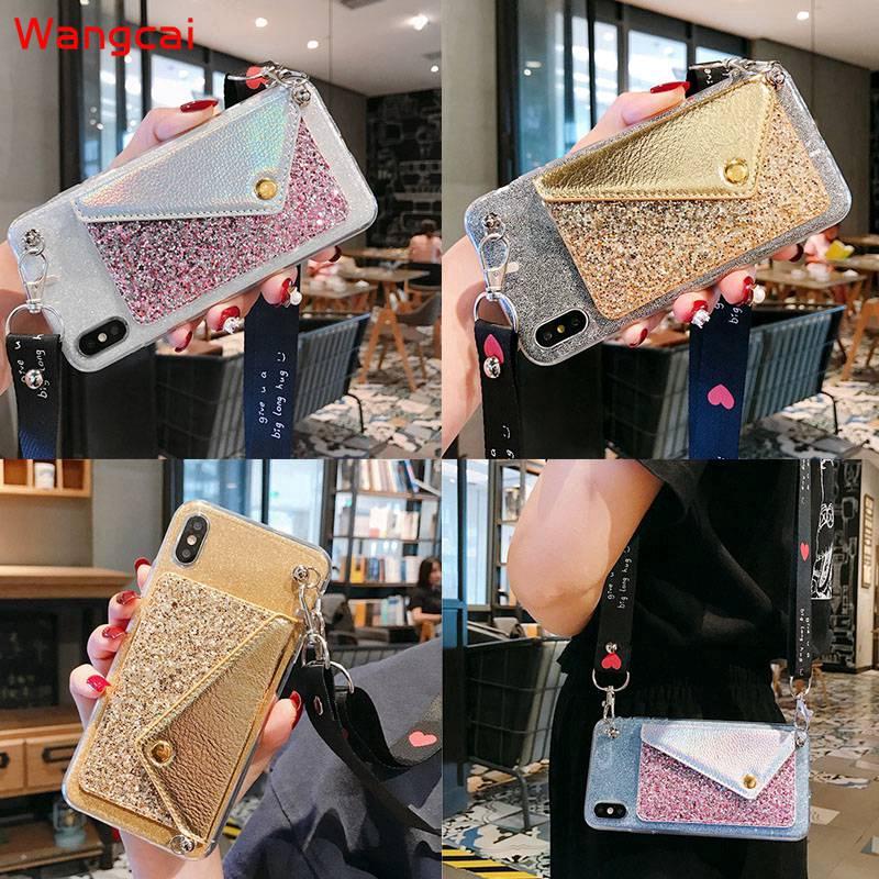 Samsung Galaxy A2 Core A8 A9 Star A6+ A6 Plus 2018 C9 C7 C5 Pro Wallet Card Bracket Glitter Bling Lanyard TPU Case Cover