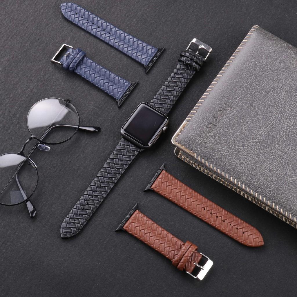สายนาฬิกาหนังถัก สําหรับ Apple Watch Series