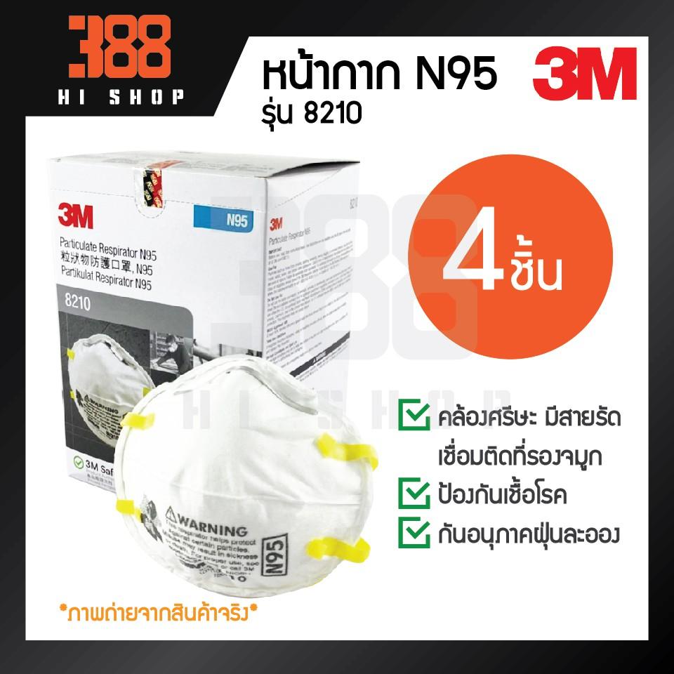 3M หน้ากาก N95 คล้องศรีษะ รุ่น8210 (4ชิ้น) *ของแท้100%*