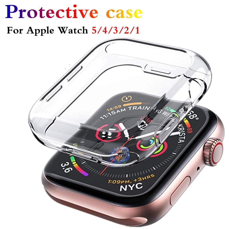 Protector case For Apple Watch 6 SE 5 4 3 2 1 40MM 44MM 38MM 42MM 360 Clear TPU Transparent Full Cover