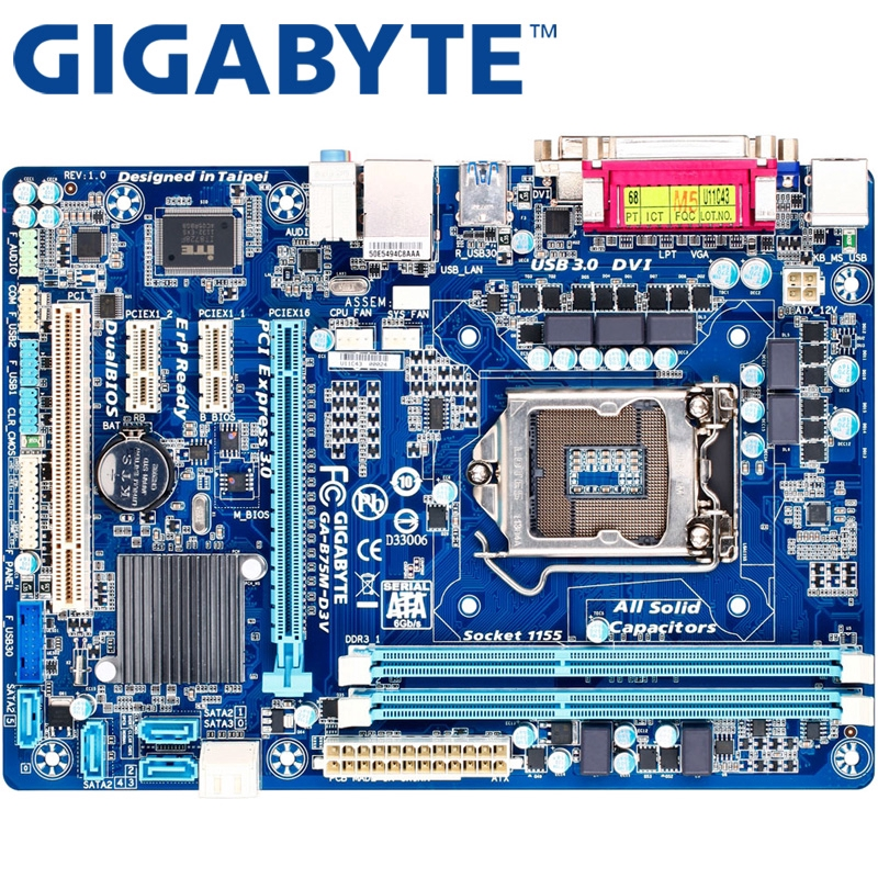 GIGABYTE GA-B75M-D3V Intel B75 LGA1155 DDR3 USB3.0//USB2.0 Motherboard Micro ATX