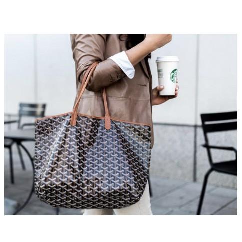 ของแท้ใหม่ GOYARD สีน้ำตาลดำขอบมือวาดกระเป๋าลูกสาวกระเป๋าสะพายกระเป๋าช้อปปิ้งเซนต์หลุยส์ PM จุดเล็ก ๆ