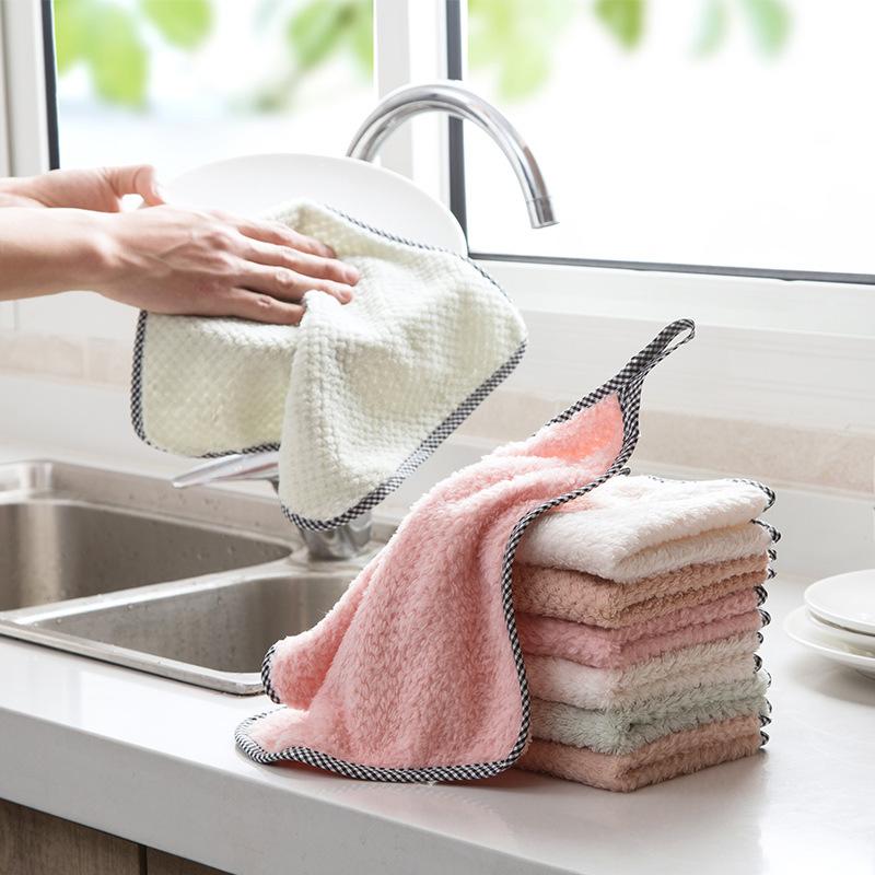 可挂式珊瑚绒擦手巾厨房不沾油清洁巾不掉毛吸水抹布洗碗布清洁布