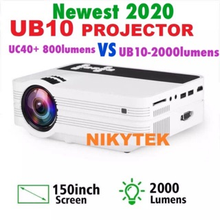NEWEST 2020-UB10 Mini Projector UB10 Portable 3D LED Projector 2000Lumens TV Home Theater LCD Video USB VGA Support1080P