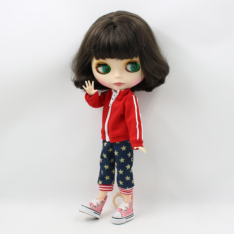 """12/"""" Neo Blythe Doll from Factory Jointed Body Matte Face Red Short Hair"""