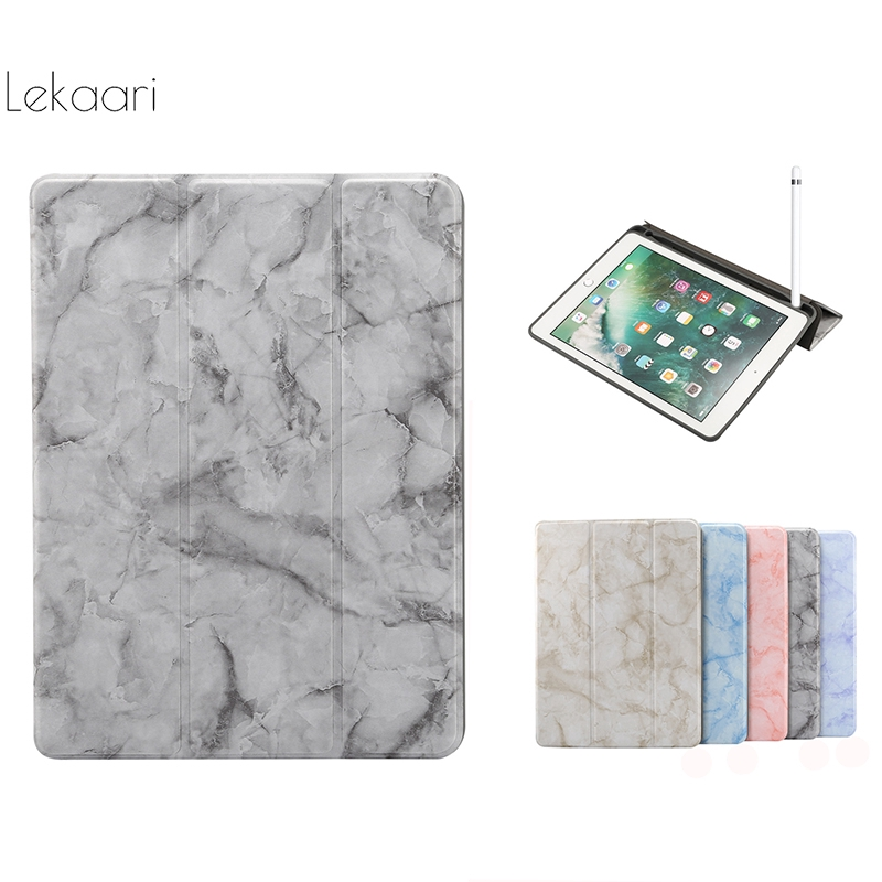 Marble Case Apple iPad 10.2 inch 2020 2019 7 7th Generation with Pencil Slot Silicone Flip Leather Smart Skin Feels Tablet Case