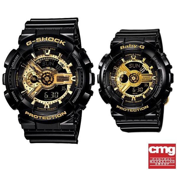 Casio นาฬิกาคู่ G-shock ,Baby-G ดำทอง รุ่น GA-110GB-1A,BA-110-1A - มั่นใจ ของแท้ 100% ประกันศูนย์เซ็นทรัล CMG 1 ปีเต็ม