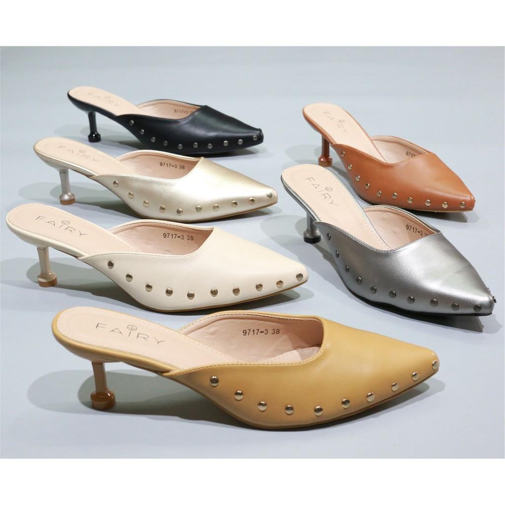 """❤รองเท้าแฟชั่นผู้หญิง❤รองเท้าส้นสูงแฟชั่นรองเท้าส้นสูงผู้หญิง☈¤▬รองเท้า 9717-3 รองเท้าคัชชูเปิดสส้นสูง 2.5"""" รองเท้าคัชชู"""