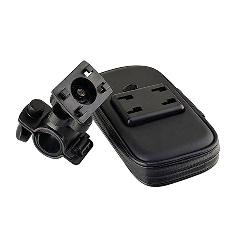 Black CNC Universal Motorcycle Phone Mounting Holder Stand Bracket w// Bag Hook