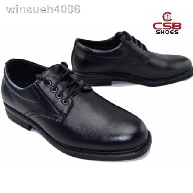 เสื้อโปโลผู้ชาย✹✴✒รองเท้าคัชชูหนังผู้ชายแบบเชือก CSB 545 ไซส์ 39-46 รองเท้าหนังเชือกเป็นหนังเทียมสีดำ