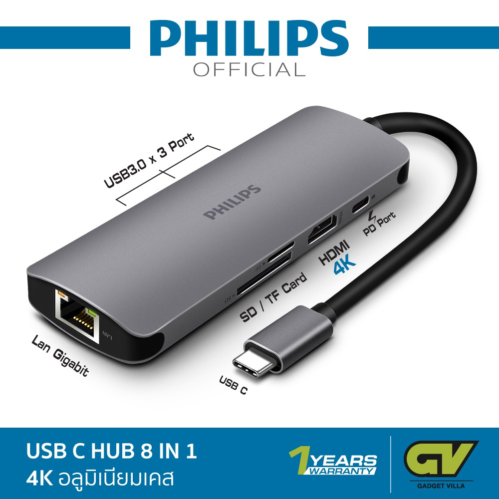 8in1 Type C Hub Multiport Adapter 4K HDMI USB 3.0 Micro SD//TF Card Giga Ethernet
