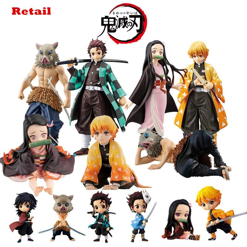 NEWKimetsu no yaiba figure nezuko tanjirou zenitsu anime figure demon slayer Action Figure PVC Collection model toys gif