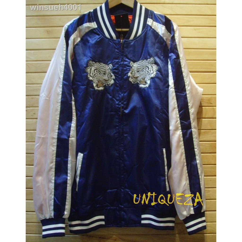 ชุดหลวม ๆ ของผู้ชาย☾✁™เสื้อแจ็คเก็ตแจ็คเก็ตตากล้องซูกาจัน Sukajan Japan Tiger Embroidered Embroidery Jacket ปักลายเสือห