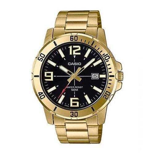 CASIO นาฬิกาข้อมือผู้ชาย สายสแตนเลส สีทอง รุ่น MTP-VD01G,MTP-VD01G-1B,MTP-VD01G-1BVUDF