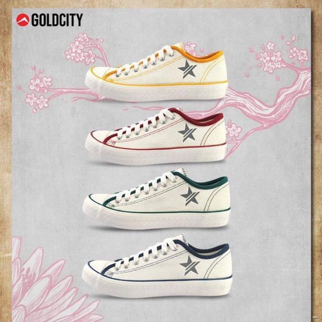 ยางยืดออกกําลังกาย№☃รองเท้าผ้าใบแฟชั่น CORN NO021 รองเท้าแฟชั่นโกลด์ซิตี้ สีขาวเขียว/ขาวกรม/ขาวเหลือง/ขาวแดง Gold city