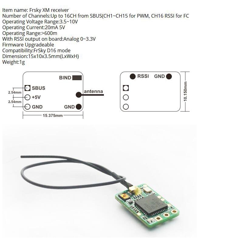 FrSky 16 CH Mini XM / XM + Plus Receiver สำหรับในร่ม FPV