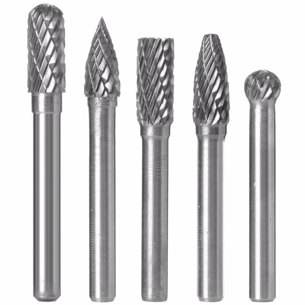 Tungsten Carbide Burrs  5Pcs Set 8mm Rotary Burr Head 1//4/'/' Shank Grinder Bit